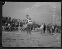 "Elton ""Squint"" Fulton of Occidental College shocks crowds with his impressive long jump, Los Angeles, 1923"