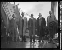 American Samoan Commission members Capt. William R. Furlong, Guinn Terrell Williams, Carroll L. Beedy, Joseph T. Robinson, and Hiram Bingham arrive in Los Angeles, 1930