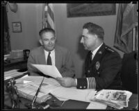 Honolulu Chief of Police William Gabrielson visiting with Chief James E. Davis, Los Angeles, 1934