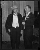 Dr. Adrian Hartog bestows award to William May Garland, Los Angeles, 1933