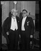 Dr. Adrian Hartog and award recipient William May Garland, Los Angeles, 1933