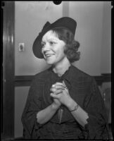 June Gay goes to court to fight for her shop, Los Angeles, 1934
