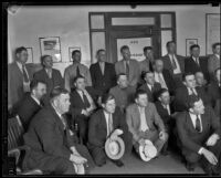 Members of California law enforcement gather to begin the search for the kidnapped William F. Gettle, Los Angeles, 1934