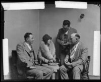 Detectives Leroy E. Sanderson and T. K. Shannon interrogate Hazel Glab about husband's murder, Los Angeles Times, 1928
