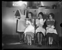 A domestic science class with Barbara Leonard, Doris Brownlee, instructor Lucille Webster Gleason, and Eugenia Cuyler, Los Angeles, 1928