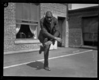 George Godfrey, heavyweight boxer, doing the Charleston [outside the KJH Radio studio, Los Angeles(?)], circa 1926-1927