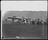 Art Goebel's plane at Mines Field before a race to Cincinnati, Los Angeles, 1928