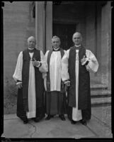 Bishop Robert B. Gooden, Dr. George Davidson, and Bishop William Bertrand Stevens, Los Angeles, 1930s