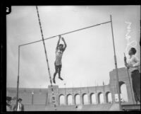 Glenn Graham, pole vaulter, at the Los Angeles Memorial Coliseum, Los Angeles, 1924