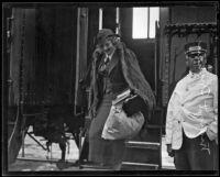 British actress Margot Grahame exiting a train, 1934-1939