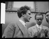 Composer, arranger and pianist Percy Grainger arriving in Los Angeles for a concert and his wedding, Los Angeles, 1928