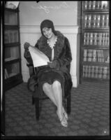 Actress Dorothy Granger posing with her contract at Superior Court, Los Angeles, 1930