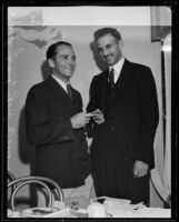 Newspaper editor Ward Grant is honored with a gift, Hermosa Beach, 1934