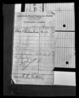 Cashier's check application used as evidence used against Sidney T. Graves, Los Angeles, 1933