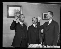 Judges Charles B. McCoy, Judge Lucius P. Green and Jess E. Stephens at an oath ceremony, Los Angeles