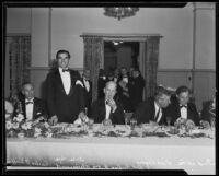 Annual banquet of the Beverly Hills Chamber of Commerce with actors and the president of USC at the Beverly Hills Hotel, Beverly Hills, 1935