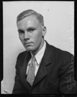 Edward Griswold, student at California Institute of Technology, after trip abroad, Los Angeles, 1932