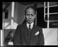 Pedro Guevara, Resident Commissioner from the Philippine Islands, on board a ship, 1923-1936
