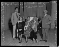 Pietro Gentile, Mary Carr Moore, Josephine Forsyth, Gertrude Ross and Edward Delavante at the Women's Club of Hollywood, Los Angeles, 1930