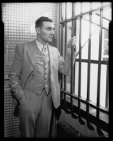 Accused murderer William James (Curly) Guy in prison, Long Beach, 1933