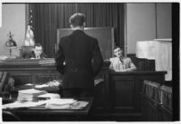 Accused murderer William James (Curly) Guy on trial, Long Beach, 1933