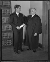 Judge Edwin F. Hahn with an unidentified man, 1920-1935