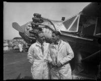 Aviators George Haldeman and Shirley Short at Mines Field after their transcontinental race, Los Angeles, 1928