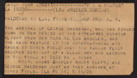 P & A press release about the arrival of George Haldeman and Shirly Short from an air race, Los Angeles, 1928