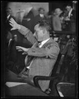 S.S. Hahn gesturing in a courtroom, Los Angeles, 1920-1939