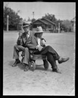 """Fullerton mayor W.L. Hale presents """"Uncle Willie"""" with new wagon, Fullerton, 1934"""
