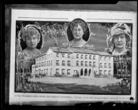 Photocollage of the Hamburger Home for Girls with portraits of founders Mrs. Jennie A. Marx, Mrs. Belle A. Nathan and Miss Evelyn Hamburger, Los Angeles, 1928