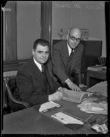 U.S. Attorney Peirson M. Hall with unidentified man, Los Angeles, 1933-1937
