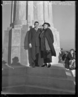 U.S. Attorney Peirson Hall and Mrs. J. D. Fredericks at the Griffith Observatory, Los Angeles, 1934-1937