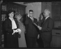 U.S. Attorney Peirson M. Hall being sworn in, Los Angeles, 1933