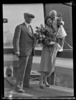 Los Angeles millionaire Capt. G. Allan Hancock with his daughter and granddaughter at their yacht launching, Los Angeles, 1931