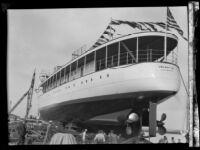 G. Allan Hancock's yacht, the Velero III, preparing to launch, Long Beach, 1931