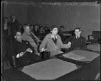 Convicted kidnappers, Luella Pearl Hammer and E. H. Van Dorn at trial, Los Angeles, 1933