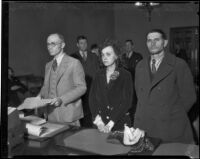 Convicted kidnappers Luella Pearl Hammer and E.H. Van Dorn at trial, Los Angeles, 1933