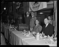 Chamber of Commerce preseident Harry L. Harper at a NRA banquet, Los Angeles, 1935