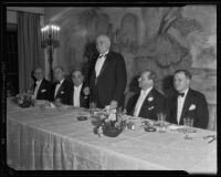 Governor Frank Merriam speaking at the farewell banquet of Harry L. Harper at the Ambassador Hotel, Los Angeles, 1935