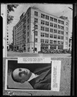 Copy print of 2 photographs: Harry L. Harper and the Graybar Electric Co. building, Los Angeles, 1935