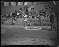 "Glenn ""Tiny"" Hartranft competing in a track-and-field meet at the Coliseum, Los Angeles, 1922-1927"