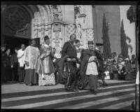 Cardinal Patrick Hayes leaving St. Vincent's church, Los Angeles, 1930