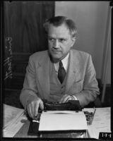 Writer Eric Heath at his typerwriter, Los Angeles, 1935
