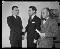 Judges Clarence L. Kincaid, George A. Dockweiler, and Leon R. Yankwich meeting, Los Angeles, 1931-1939