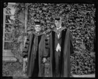Dr. Ernest James Jaqua and Newton D. Baker at Scripps College on its opening day, Claremont, 1927