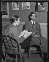 Artist Dorothy Jeakins sketching a portrait of artist Will James Los Angeles, 1934-1939