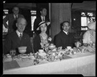 Prince and Princess Kaya of Japan with Rufus B. von Kleinsmid at a Los Angeles Breakfast Club event at the Ambassador Hotel, Los Angeles, 1934