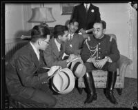 Prince Kaya of Japan interviewed by Japanese reporters at the Ambassador Hotel, Los Angeles, 1934