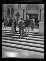 Prince and Princess Kaya of Japan with Rufus B. von Kleinsmid at the Edward Laurence Doheny Memorial Library, Los Angeles, 1934